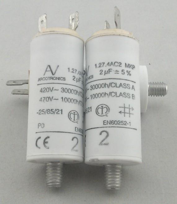 2uF 1.27.4AC2 MKP 420V  470V AV ARCOTRONICS Motor Run Capacitors