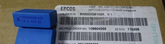B32523J6105K Z1 EPCOS 1.0uf 400v 1uf 1u0f 105 CAP FILM RADIAL