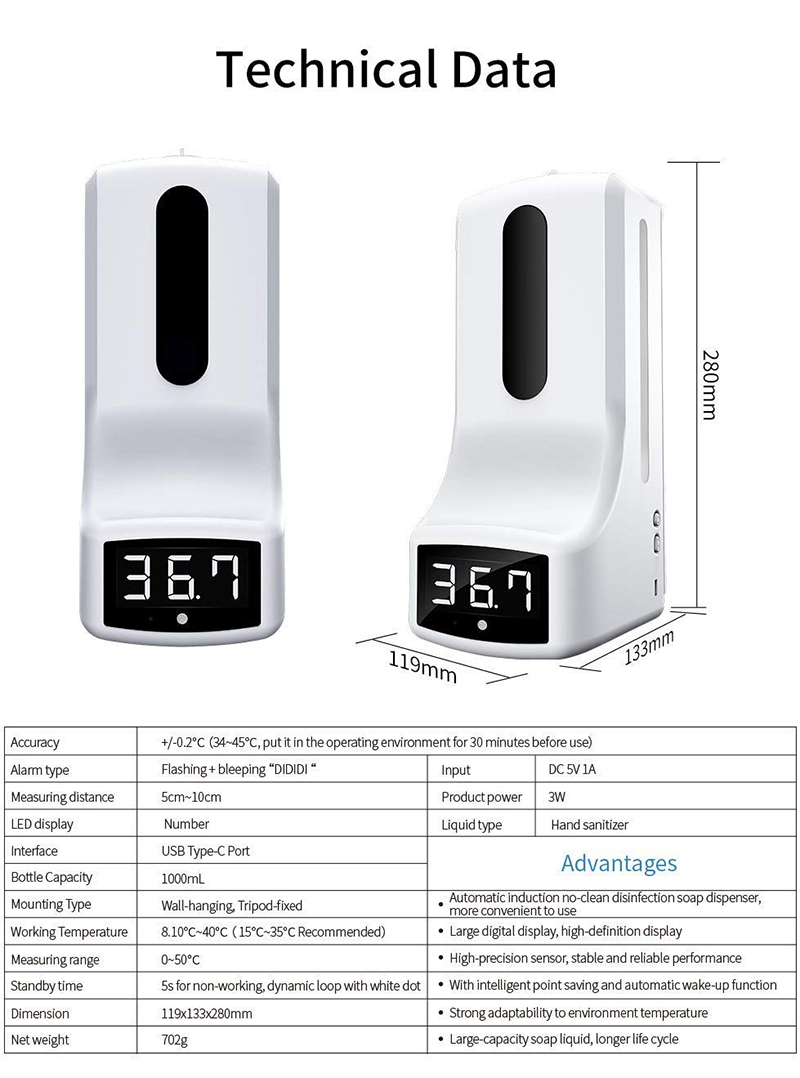 Htesemi K9 thermometer intelligent soap dispenser automatic alcohol Gel sensor temperature K9 Pro